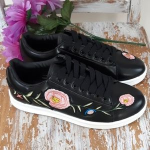 Shoes - EMBROIDERED FAUX BLACK LEATHER SNEAKERS!!!
